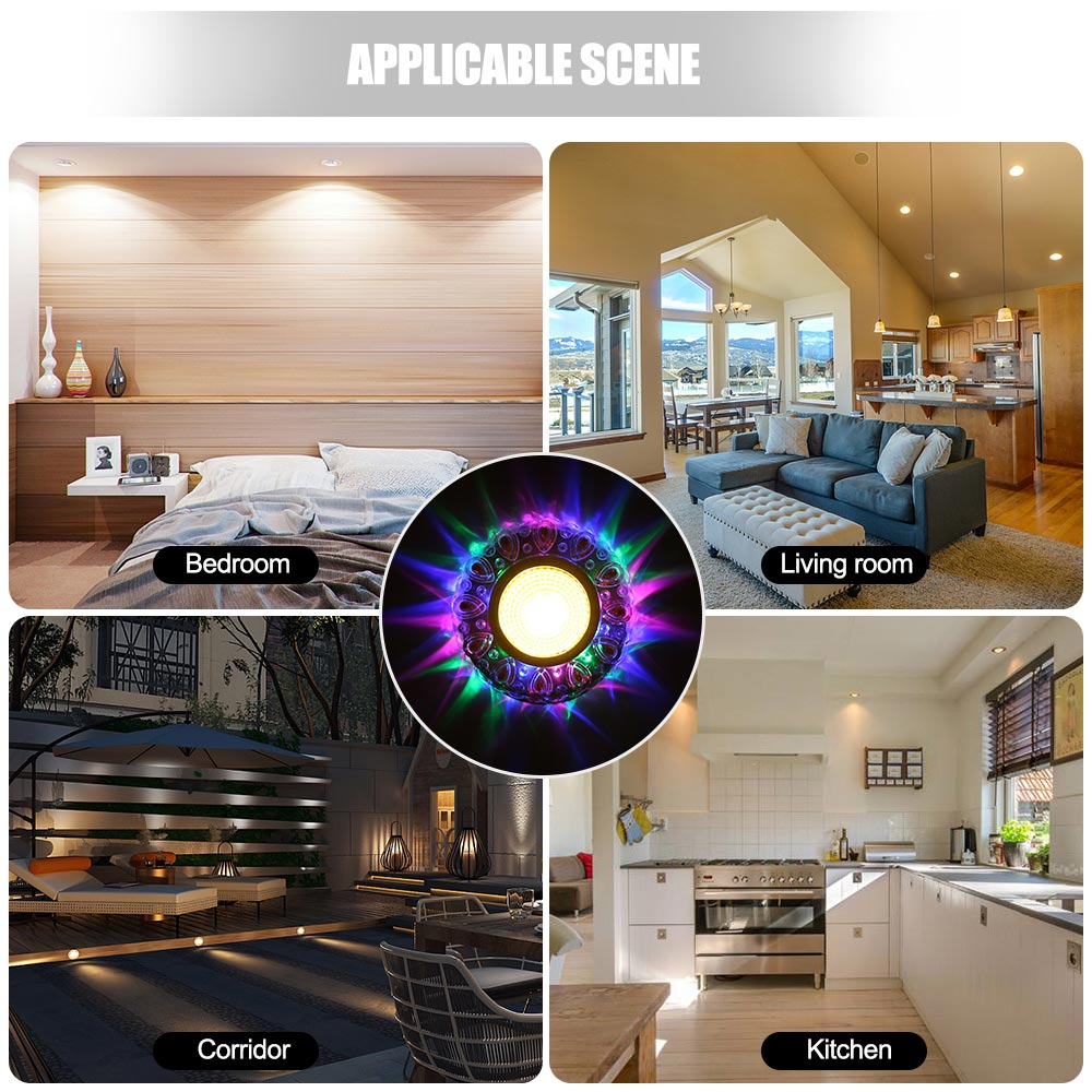 5W LED Crystal Recessed Ceiling Light Warm White RGB 3 Modes Mini down Lamp Luminarias Light 5W LED Crystal Recessed Ceiling Light Warm White+RGB 3 Modes Mini down Lamp Luminarias Light For Aisle Corridor Kitchen 85-220V