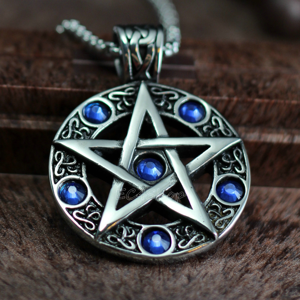 Celtic wicca pentacle pentagram star blue cz stones stainless steel celtic wicca pentacle pentagram star blue cz stones stainless steel pendant witch and wizard magic witchcraft charm in pendants from jewelry accessories aloadofball Gallery