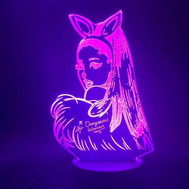 3D Lamp Table Nightlight Celebrity Singer Ariana Grande Poster Cat Kids Gift for Bedroom Decorative 3D Led Night Light