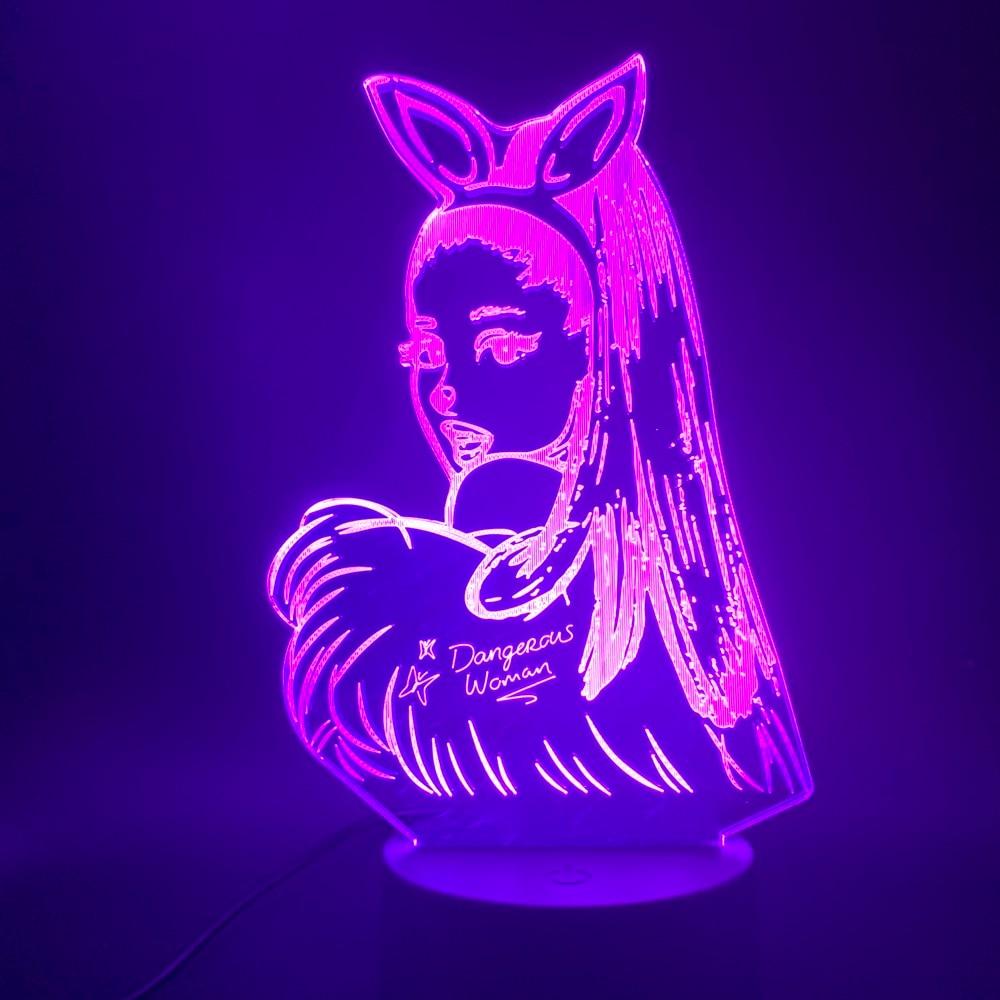 3d Lamp Table Nightlight Celebrity Singer Ariana Grande Poster Cat Girl Fans Gift For Bedroom Decorative 3d Led Night Light