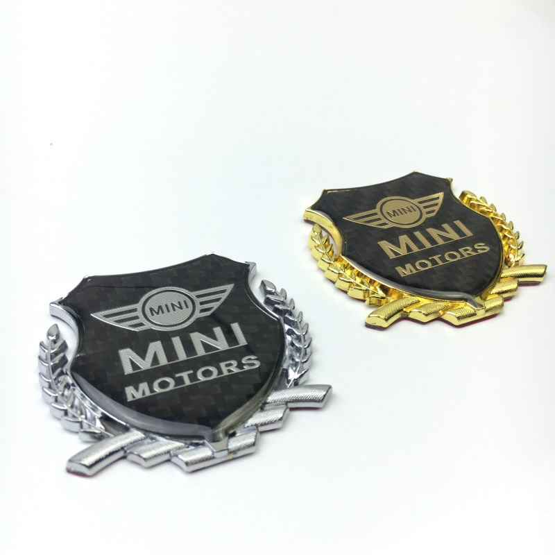 2PCS/SET <font><b>Mini</b></font> Coopers R56 R50 <font><b>R53</b></font> F56 F55 R60 R57 Flag Works Emble Logo With Car sticker Wheat spike <font><b>carbon</b></font> fiber Trim Plastic image