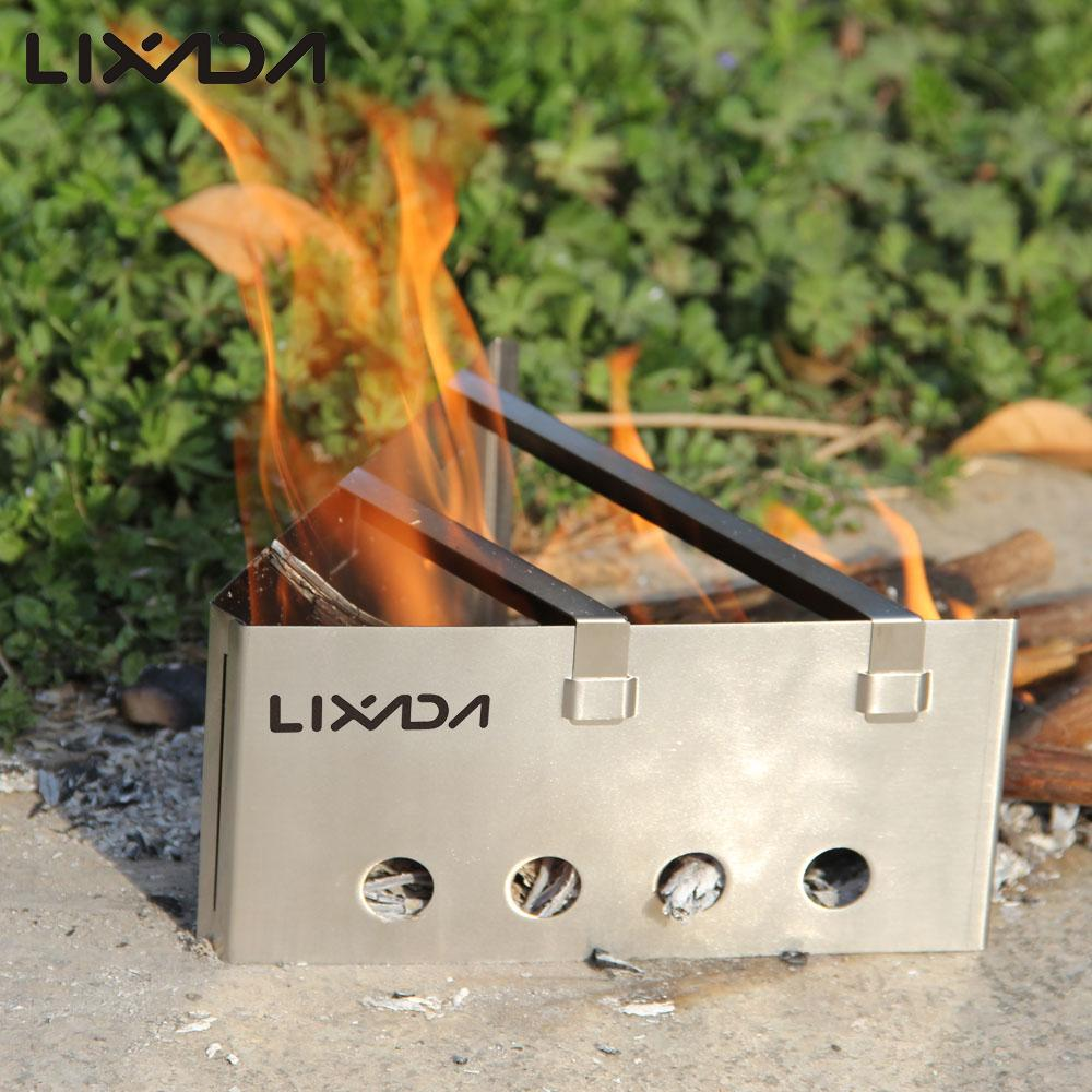 Lixada Outdoor Stove Compact Lightweight Backpacking Wood Stove Portable Outdoor Cooking Picnic Stainless Steel Camping Stove