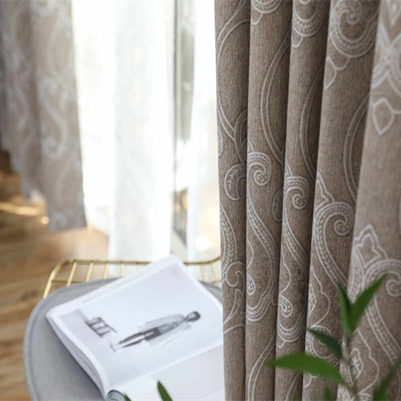 High-end New Curtains Chenille Jacquard Simple Blackout Curtains for Living Dining Room Bedroom  Study Processing