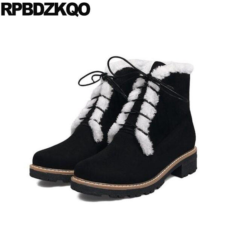 British Women Ankle Boots Medium Heel Lace Up Platform Booties Chunky Fur Big Size Suede Black Combat Short Shoes Military 10