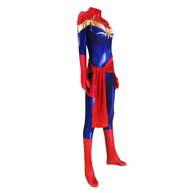 Captain Marvel Ms Marvel Carol Danvers Cosplay Costume Zentai Bodysuit Suit Superhero Halloween Jumpsuits