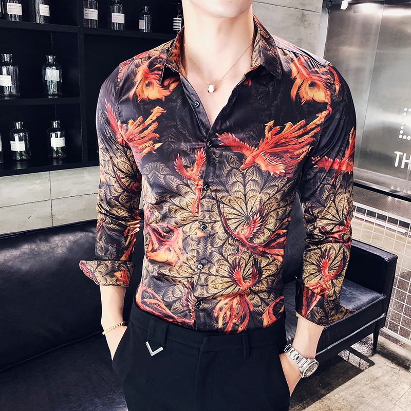 Hot Pattern Print Shirt Men Long Sleeve DJ Clubt Shirt Men Button Down Casual Korean Fashion Camisas Masculina Camicia Uomo