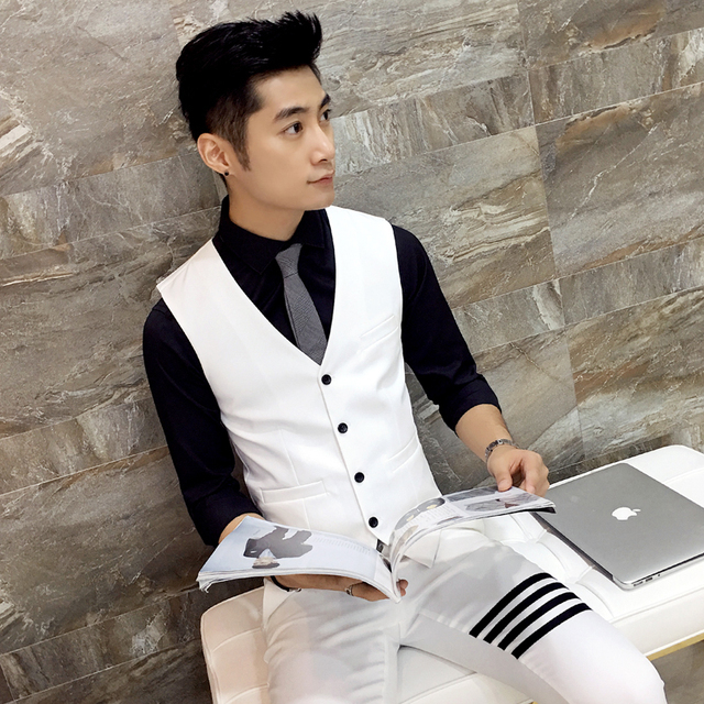 Men's suit vest White trend Slim fit Casual party wedding dress vest High-quality business gentleman fashion men's clothing MJ51