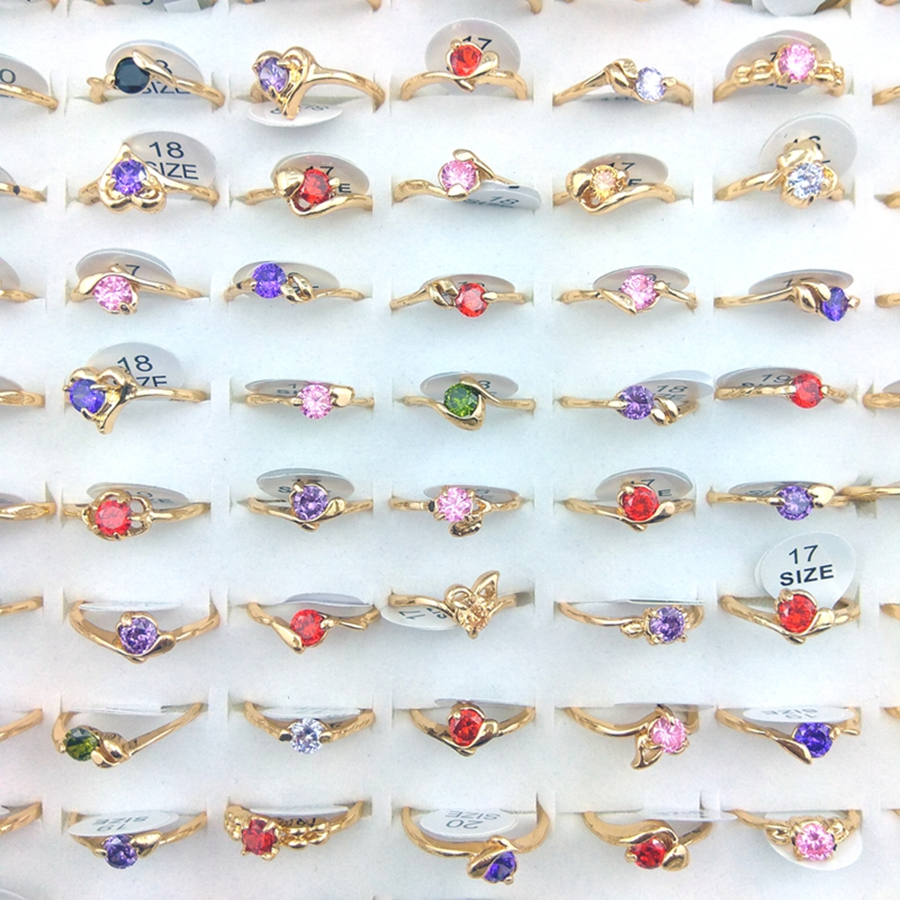 High Quality Gold Color Real Zircon Rings Fashion Zircon Jewelry Valentine's Day Gift Free Shipping