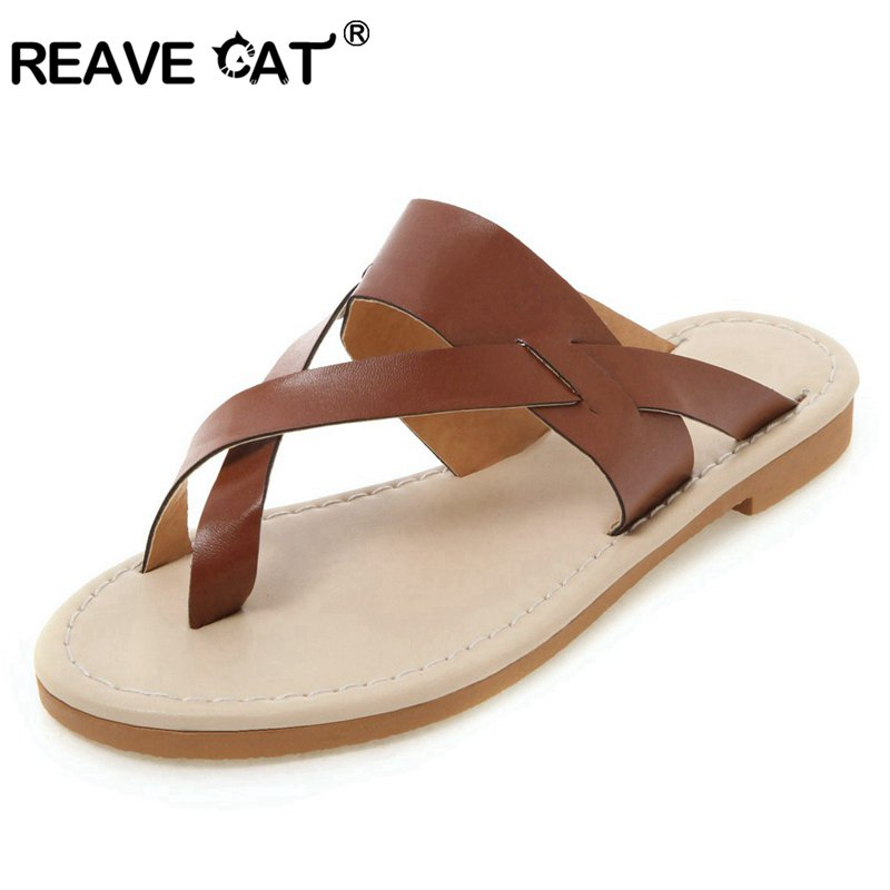 REAVE CAT Shos woman clip toe slippers Ladies flip flops Slip on summer shoes outdoor beach slides Large size 44 45 48