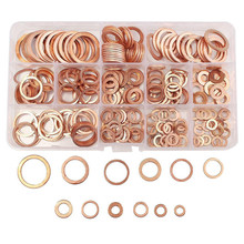 280pcs/set Solid Copper Crush Washers Professional Hardware Accessories 12 Sizes Assorted Seal Flat Ring Set  280pcs copper washers set m5 m20 solid copper washer gasket sealing ring assortment kit set with case 12 sizes