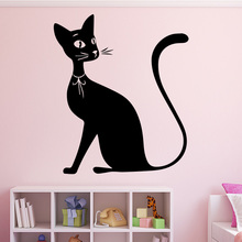 New arrival Cute Cat Pattern Wall Sticker for Girls Bedroom Decoration Removeable Vinyl Decals Waterproof Home Decor mural sweet bird cage pattern removeable waterproof decorative wall sticker