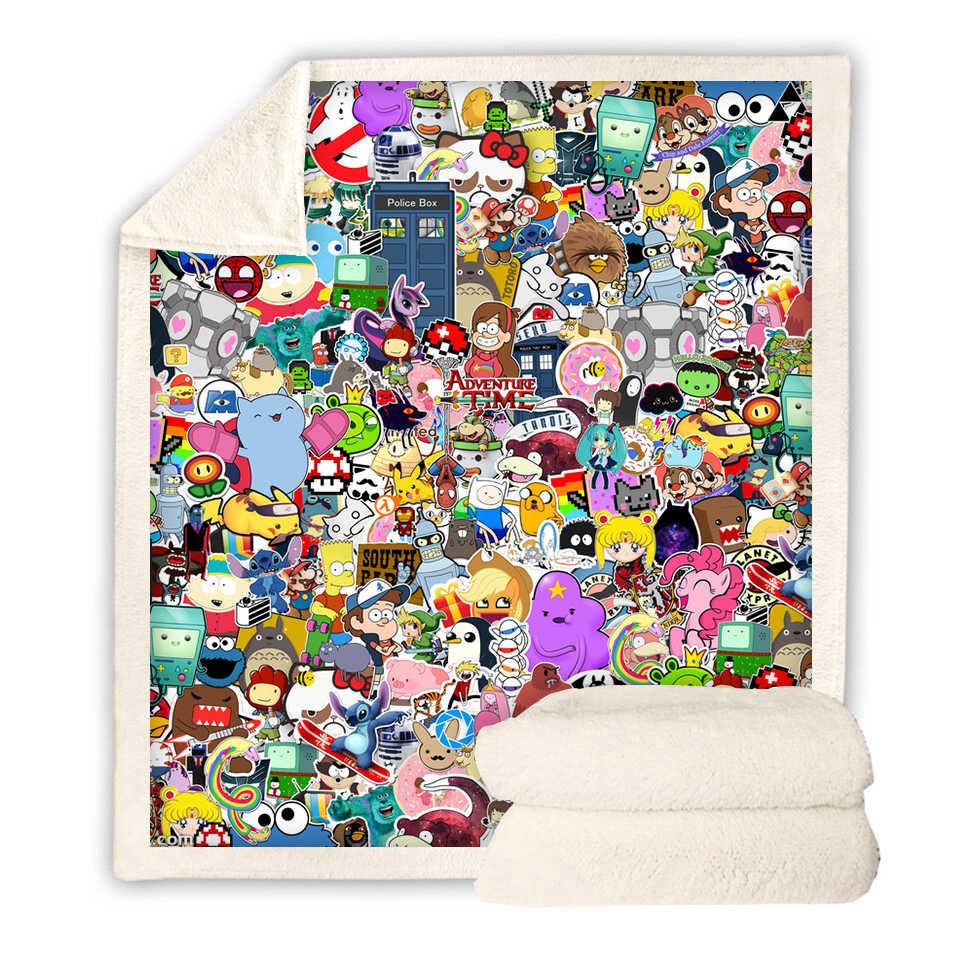 بطانيات شيربا ثلاثية الأبعاد مطبوعة بطباعة المغامرات غطاء سرير للسفر والشباب مخملي مخملي بغطاء سرير من الصوف غطاء سرير جديد