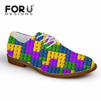 FORUDESIGNS Men Shoes Luxury Brand Synthetic Leather Casual Driving Oxford Shoes Men Loafers Colorful Tetris Print