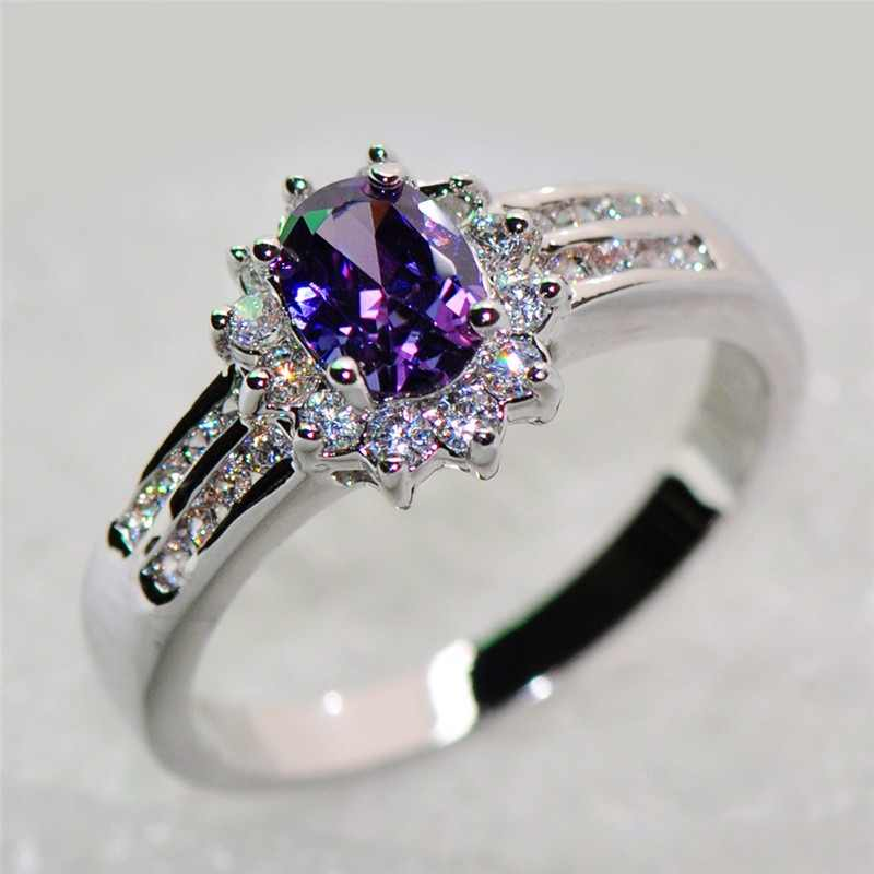 Bamos Elegant Female Purple Oval Ring 925 Sterling Silver Filled Jewelry Vintage Wedding Rings For Women Birth Stone Gift
