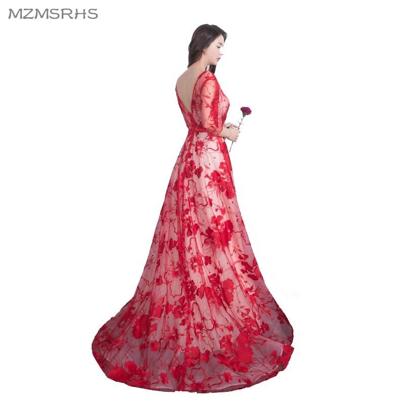 Vestidos de fiesta largos de encaje rojo de lujo MZMSRHS 2018 Vestido - Vestidos para ocasiones especiales - foto 3
