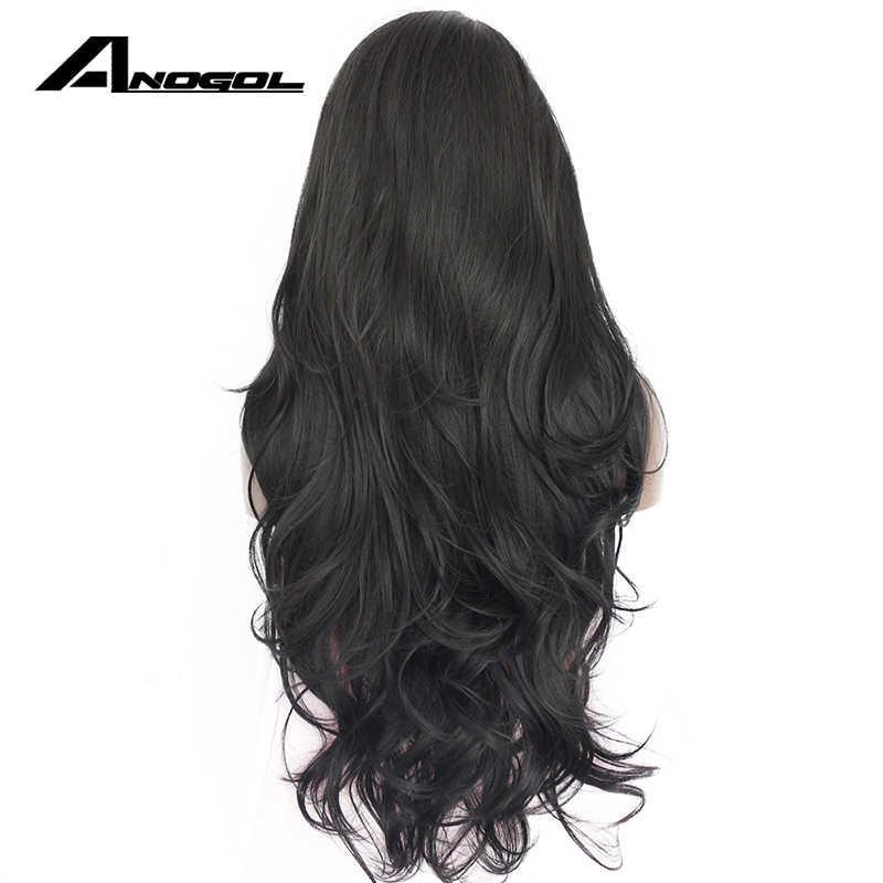 Pelucas de pelo de fibra de alta temperatura sin pegamento Natural de Anogol 1 # negro sintético peluca frontal de encaje para las mujeres