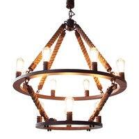 Ретро Страна Лофт Стиль пеньковая веревка edison Винтаж промышленные подвесные Освещение лампа с 12 светильники для столовой