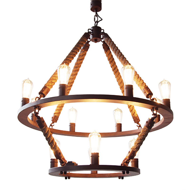Retro Country Loft Style Hemp Rope Edison Vintage Industrial Pendant Lighting Lamp With 12 Lights For Dinning Room