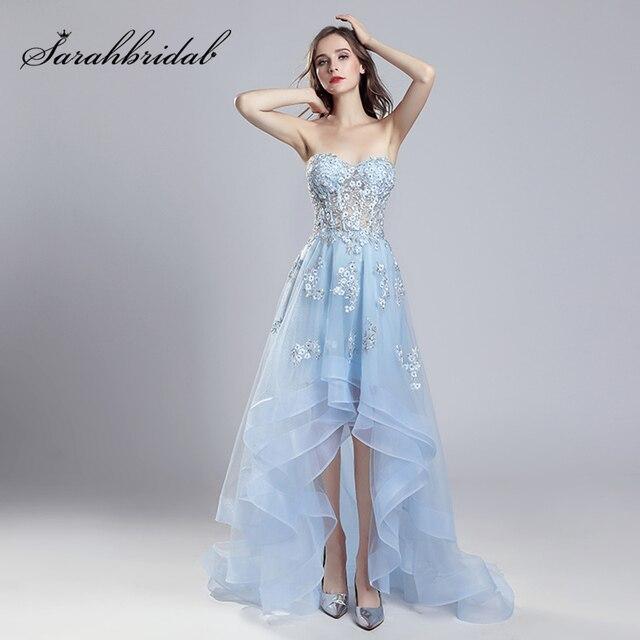 17634696e8 Dla dzieci niebieski wysoki niski suknie wieczorowe z 3D aplikacje 2019  wiosna lato Sexy Illusion sukienka