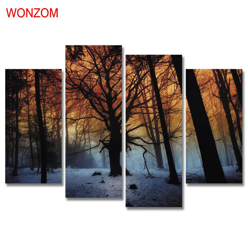 4Pcs Snow Field Forest Canvas Painting Withered Tree Painting On Canvas Cuadros Abstractos 2017 Wall Picture For Home Decor Gift
