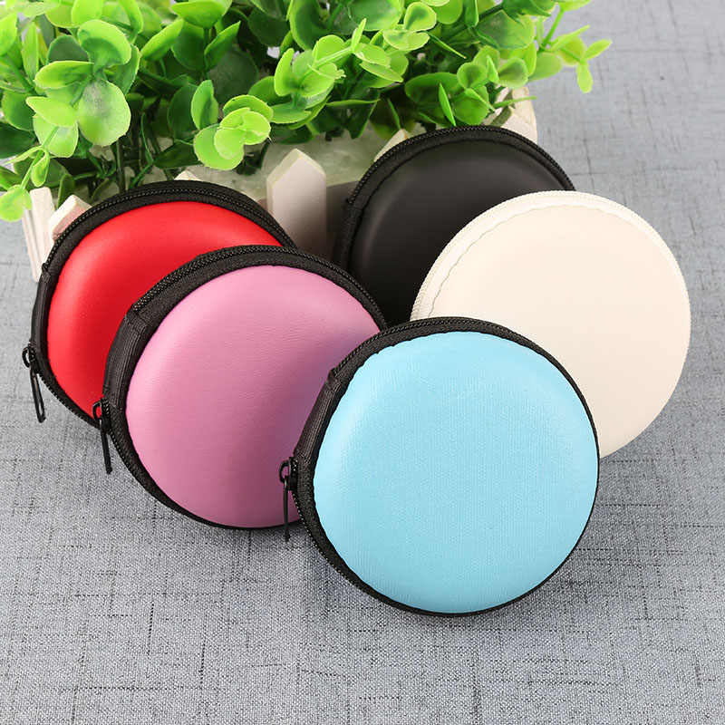 NEW Portable Case for Headphones Case Mini Zippered Round Storage Hard Bag Headset Box for Earphone Case SD TF Cards 8x8x3cm