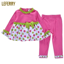 Cute Baby Girl Clothes Set Dresses + Legging Pants Rose Red Toddler Girls Clothing Sets Infant Cotton 2018 New Fashion
