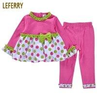 Cute Baby Girl Clothes Set Dresses Legging Pants Rose Red Toddler Girls Clothing Sets Infant Clothing