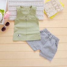 Summer Baby Boys Cotton Sleeveless Vest Tanks Tops + Striped Shorts Kids Sport Tracksuits Infant Clothing Sets 2Pcs Suits