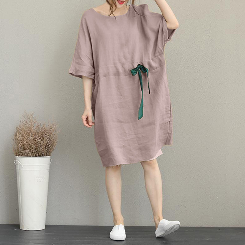 Women Summer Plus Size Dress Ladies Cotton And Linen Solid Color Midi Dress O Neck Short Sleeve Loose Strappy Beach Dress 2020
