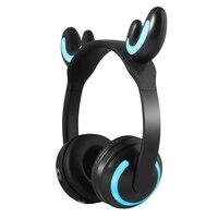 Kids Wireless Cat Ear Headphones Glow Earphone Mic Game Bluetooth Headset Christmas Gifts SGA998
