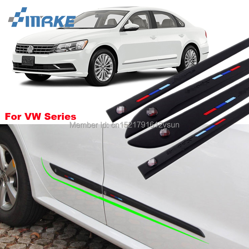 smRKE Anti-rub Body Side Door Rubber Decoration Strips Protector Bumper Bars For VW Bora Golf Passat Tiguan CC Magotan Series
