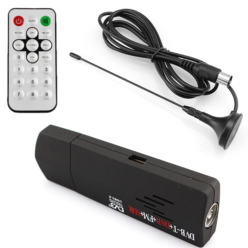 цена на Digital USB TV FM+DAB DVB-T RTL2832U+R820T Support SDR Tuner Receiver & dvb t HDTV tv Stick dongle with Receiver antenna