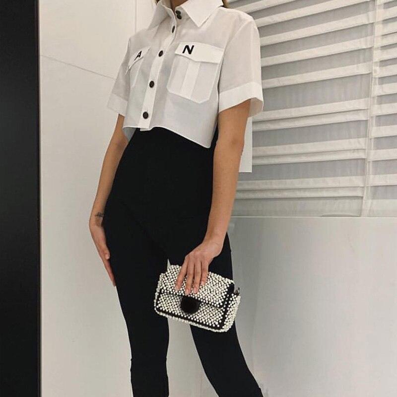 Top Women 2019 Fashion Turn Down Collar Pocket Shirt Blouse Shirt Cute Letter Print Loose Casual Blosues Tops Ladies Blusa