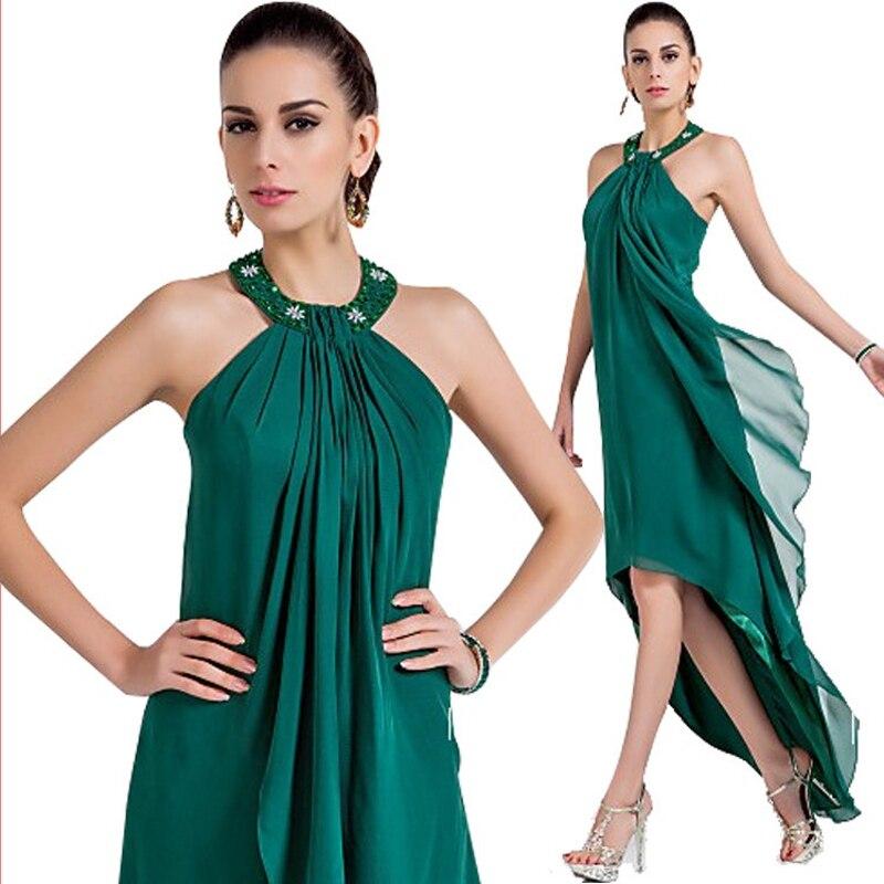 2019 offre spéciale mode vert foncé asymétrique robes de soirée licou perles en mousseline de soie fête/vacances robes pour bal grande taille