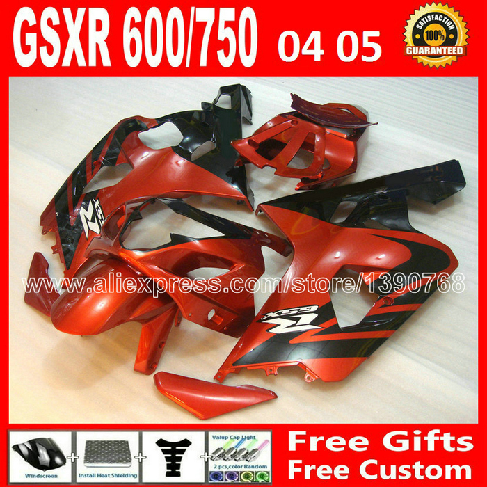 Free custom for 2004 2005 ABS SUZUKI red black GSXR 600 750 fairing kit K4  moto gsxr600 XRV GSX 04 05 R750 body 837 motorcycle rear bag black d tail alforjas para saddle bags tail bag ogio