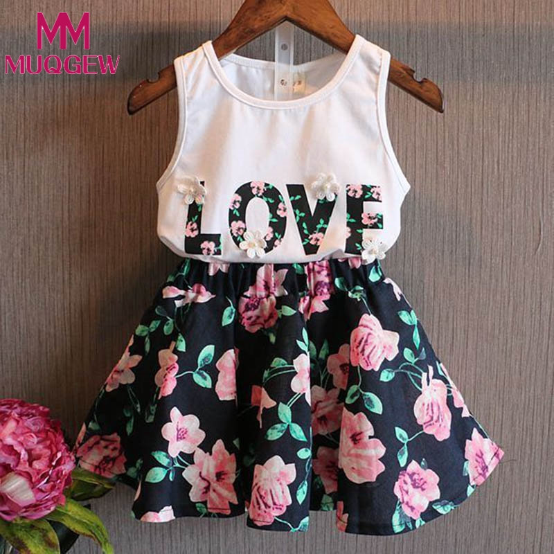 Girls Clothes School Skirts Flower Outfits 2pcs Children Toddler Kids Baby T Shirt Tops Vest + Floral Skirt Love Letter Clothes flower sleeveless vest t shirt tops vest shorts pants outfit girl clothes set 2pcs baby children girls kids clothing bow knot