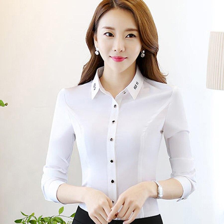 Big Size Top Shirt Femme Solid Color White Collar Shirt Chiffon Cardigan Blusa Feminina Top Office Vintage Women Cloths P7C1316