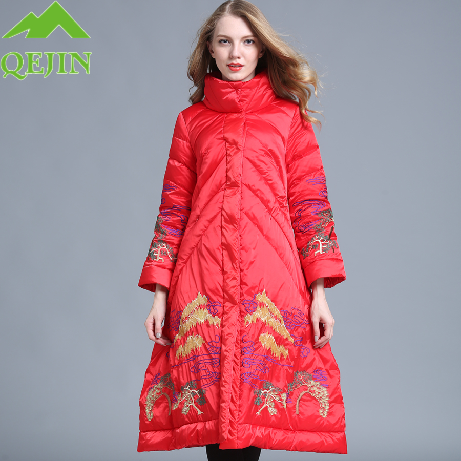 qejins   down   jacket winter   down     coat   female warm duck   down   outerwear thicken lady fashion mountain embroidered A-line overcoat