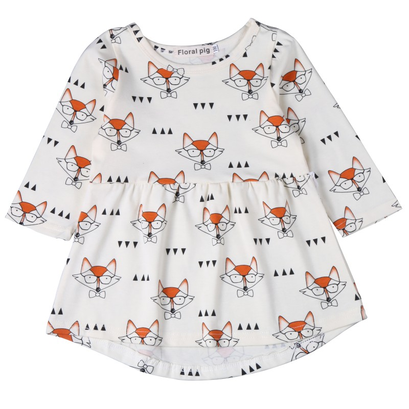 Fashion Girls Dress Long Sleeve Fox Printed A Line Children's Party Dresses Baby Girls Casual Outfits Clothing fashion girls dress long sleeve fox printed a line children s party dresses baby girls casual outfits clothing