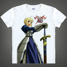 Fate stay night T shirt kawaii Japanese Anime t shirt Handmade Manga Shirt Cute Cartoon saber