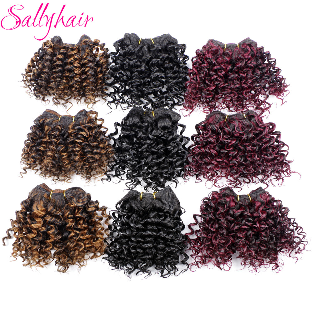 Sallyhair Afro Kinky Curly Crochet Hair Weave Högtemperatur Syntetisk Weft Hair Extensions Ombre Color 3pc / lot Hårväv