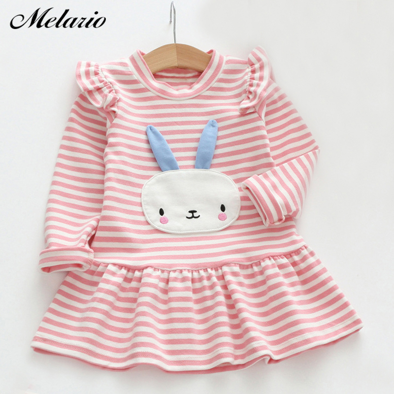 Sotida Girls Dresses 2016 Brand Fashion Kids Clothes Casual Style Baby Girls Clothes Long Sleeve Cartoon Bunny Print Plaid Dress 100% real photo brand kids red heart sleeve dress american and european style hollow girls clothes baby girl clothes