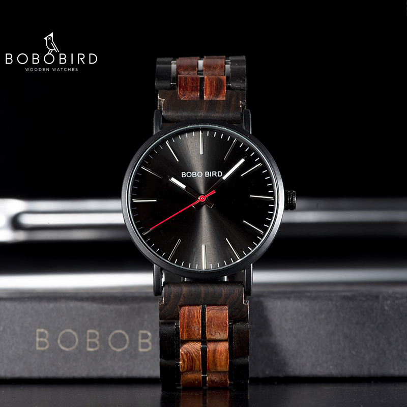 BOBO BIRD Men Wood Watch Japan Movement relogio masculino Stainless Steel Wooden Band In Gift Box Accept Dropshipping L S19 in Quartz Watches from Watches