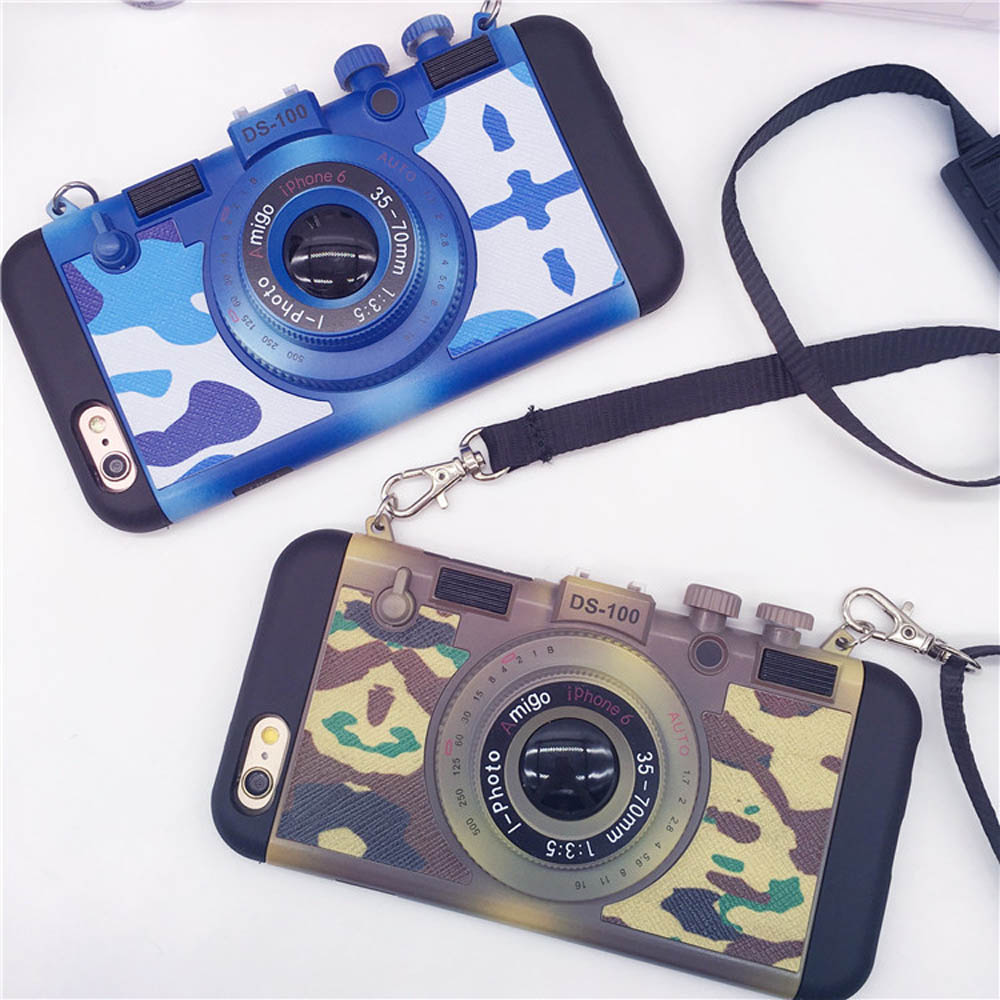 Camera Style Phone Cases For iPhone 6 6s 6Plus 6s Plus Camouflage 2 in 1 Silicone + PC With Lanyard Protective Back Covers SF11