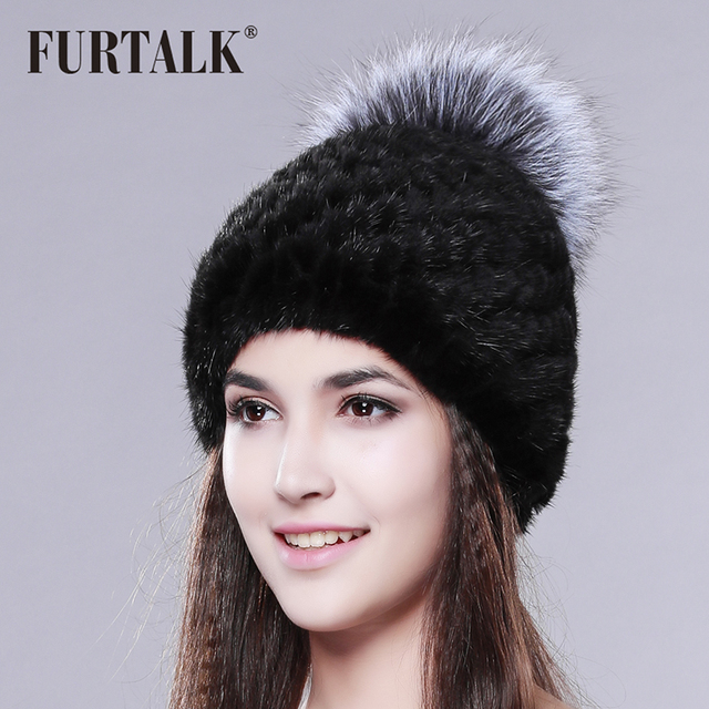 FURTALK Russian Real mink fur hat for women brand winter knitted mink fur beanie cap with fox fur pom pom