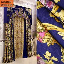 Luxury Velvet Embroidered Curtains For Living Room Bedroom Chinese Blue Color High Grade New Design
