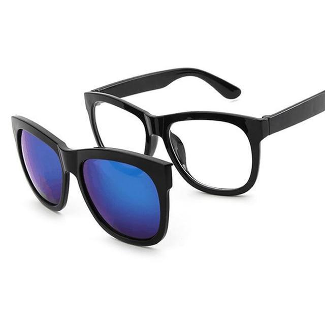Imán Clip en gafas de sol clip en lentes cuadrados hombres mujeres espejo  clip gafas de 4fc9171883