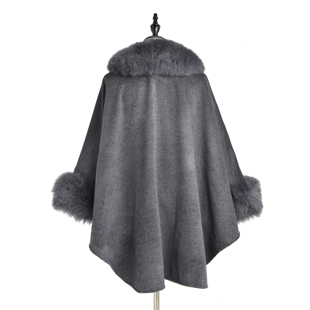 TOPFUR 2019 New Fashion Winter Female Cape Real Fur Cape For Women Three Quaeter Real Fox Fur Outerwear Bat Sleeved V Neck Gray in Women 39 s Scarves from Apparel Accessories
