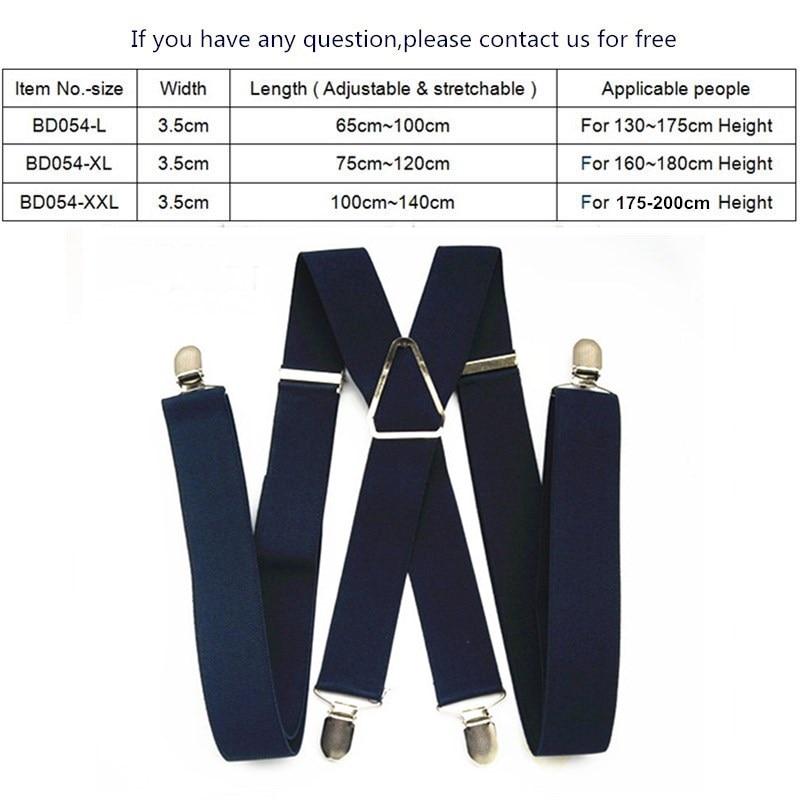 BD054-L XL XXL Size Suspenders Men Adjustable Elastic X Back Pants Women