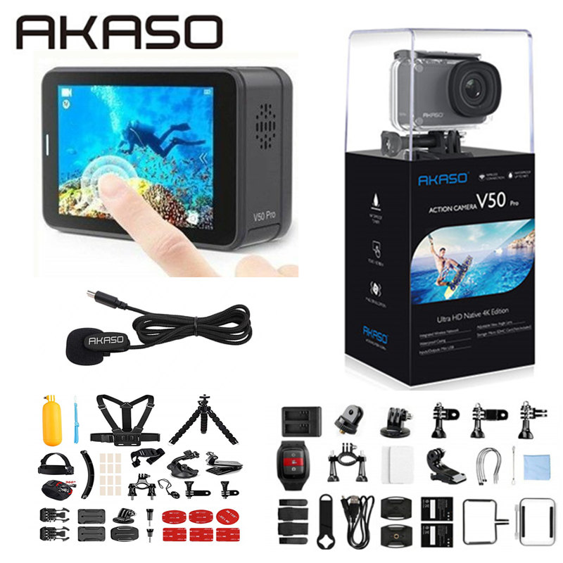 AKASO V50 Pro Native 4K/30fps 20MP WiFi Action Camera EIS Touch Screen 30m Waterproof 4k Sport Camera Support External Micro 3